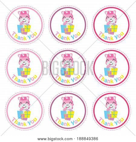 Cute unicorn with gift boxes vector cartoon, Birthday Label, sticker set, and cupcake topper