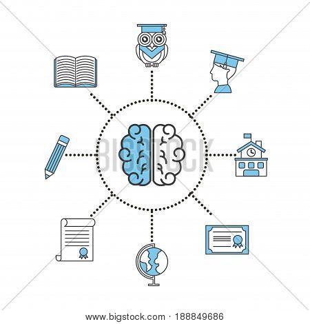 brain student information illustration icon vector design graphic concept