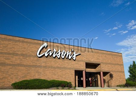 Fort Gratiot, Michigan, USA - May 30, 2017: Exterior of Carsons Department Store. Carsons bills itself as an upscale chain department store. It is located in the American Midwest with over 50 stores.