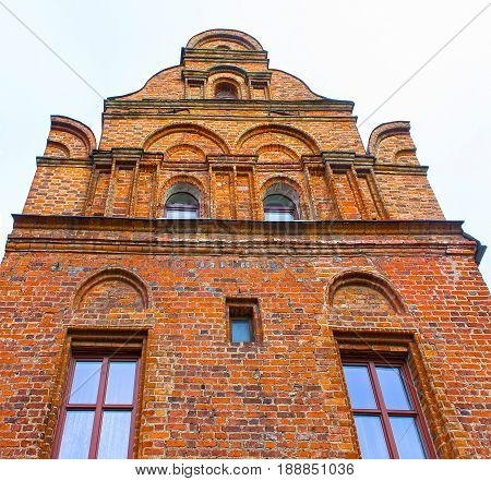 The fasade of old house at the street of old town at Kaunas