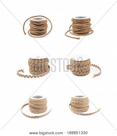 Decorational rope string on a bobbin isolated over the white background, set of six different foreshortenings