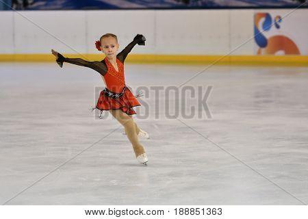 Orenburg, Russia - February 20, 2017 Year: Girls Compete In Figure Skating