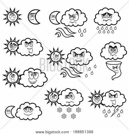 Cartoon Weather Black Symbols Set