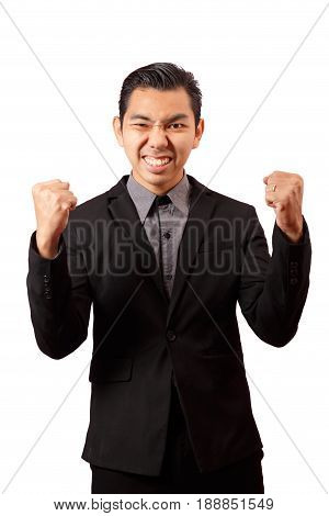 young asian business man in black suit and gray shirt isolation on white background