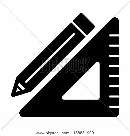Triangle ruler and a pencil vector icon. Black and white illustration of school tools . Solid linear education icon. eps 10