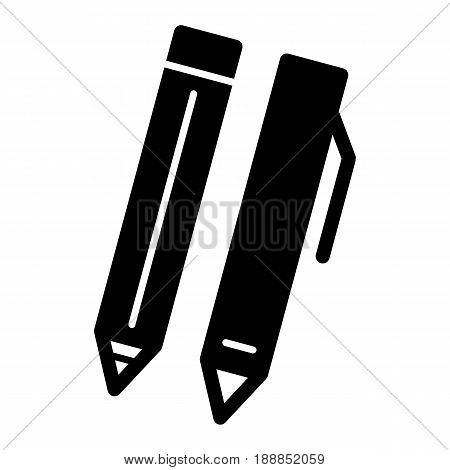 Pen and pencil vector icon. Black and white illustration of set of ballpen. Solid linear school tools icon. eps 10