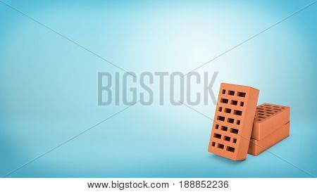3d rendering of a three hollow red bricks placed on a blue background with one of them leaning on two others. Building and construction. Best value supplies. Home renovation.