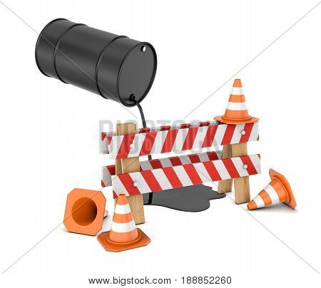3d rendering of a striped roadblock sign beside several traffic cones and a barrel leaking oil on them from above. Travelling by car. Gas prices. Road problems.