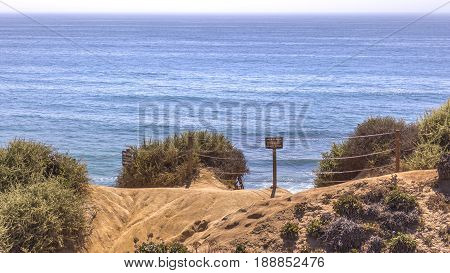 Ocean views in southern California with signs