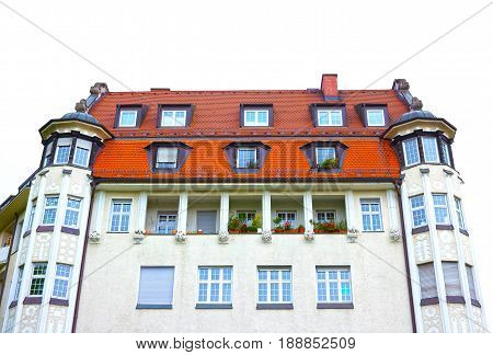 The fasade of typical residential house at Munich in Bavaria