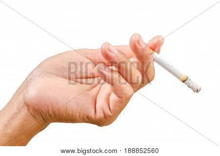 Isolated man hand holding cigarette in white background Save clipping path.