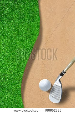 Golf ball on edge of sand trap bunker with wedge club ready to hit it out. Copy space and vertical orientation.  3D rendering of fictitious golf course.