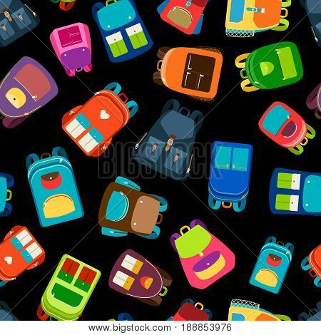 Schoolbags and school backpacks seamless pattern vector illustration