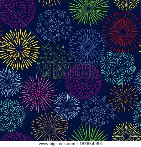 Night firework seamless pattern. Celebration fireworks and fire crackers party vector background