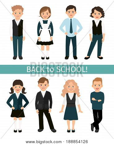 School children set vector illustration. Elementary primary students kids in uniform isolated on white background