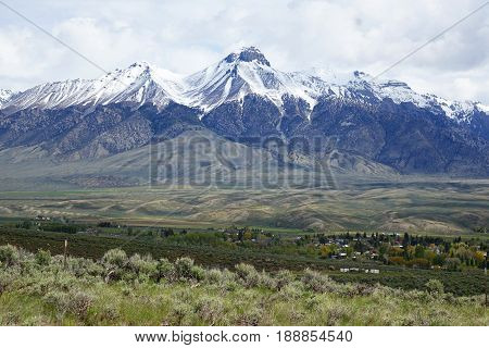 The Lost River Mountains, including Mt. McCaleb provide a beautiful background for the town of Mackay, Idaho.