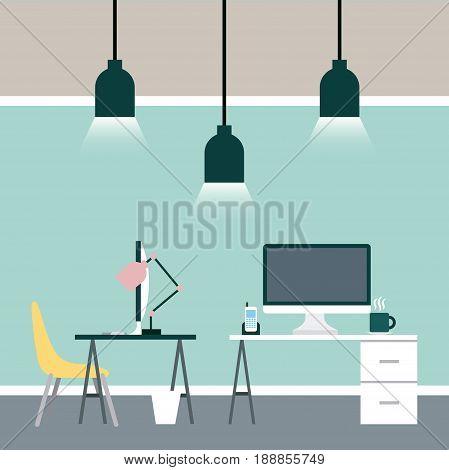 Businesswoman and businessman desk illustration icon vector desgin graphic