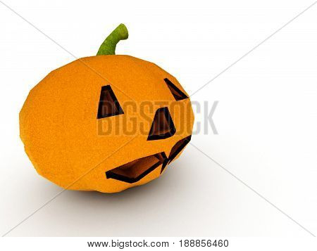 Halloween pumpkin isolated on white background. High quality 3d render.