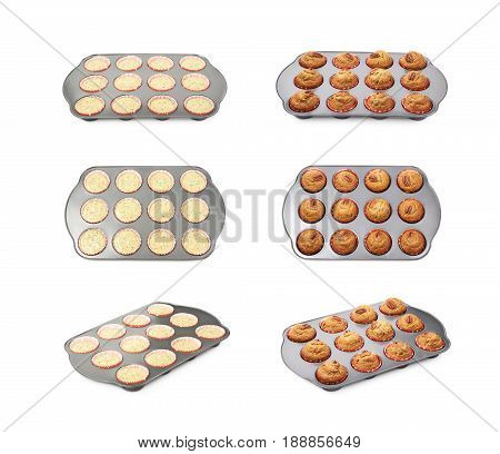 Muffin pan tray isolated over the white background, set of multiple foreshortenings of before and after baking the pancake dough