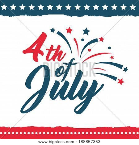 Independence Day of the United States poster set, Fourth of July federal holiday, typical festivity card with star border. Vector flat style illustration on white background