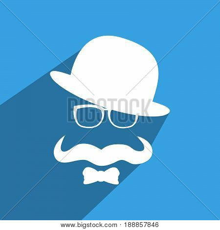 illustration of elements of hat, spectacles, mustache and bow