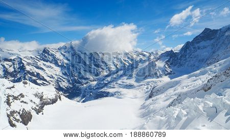 Snow mountain at Jungfrau with blue sky background