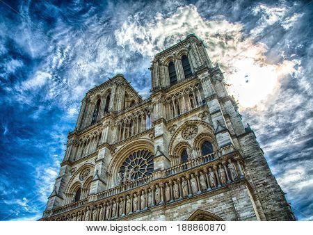 Frontview Of The Cathedral Notre Dame At The Ile De La Cité At Paris