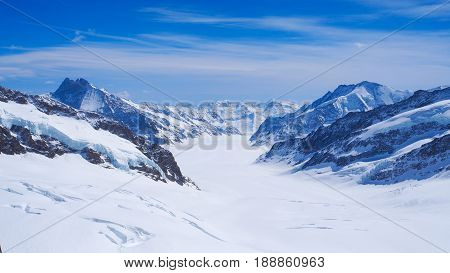 Snow mountain panoramic view at Jungfrau with blue sky