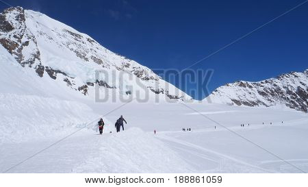 Snow walking track at Jungfrau with blue sky background