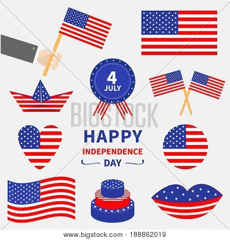 Happy independence day icon set. United states of America. 4th of July. Waving crossed american flag heart round cake badge with ribbons paper boat hand lips. White background. Flat design Vector