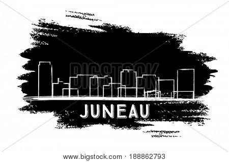 Juneau Skyline Silhouette. Hand Drawn Sketch. Business Travel and Tourism Concept with Historic Architecture. Image for Presentation Banner Placard and Web Site.