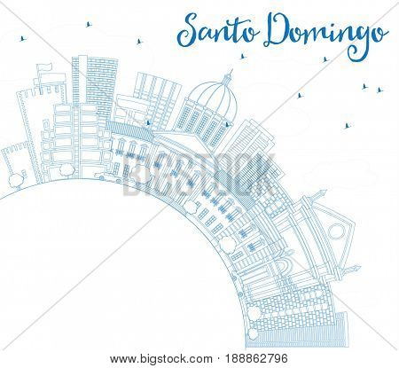 Outline Santo Domingo Skyline with Blue Buildings and Copy Space. Business Travel and Tourism Concept with Modern Architecture. Image for Presentation Banner Placard and Web Site.