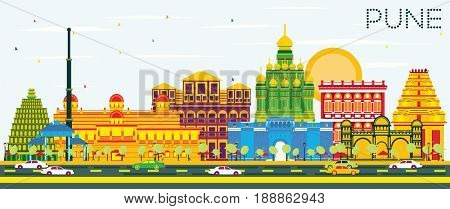 Pune Skyline with Color Buildings and Blue Sky. Business Travel and Tourism Concept with Historic Buildings. Image for Presentation Banner Placard and Web Site.