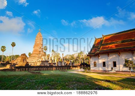 Wat Phra Si Rattana Mahathat - Chaliang in the precinct of Si Satchanalai Historical Park a UNESCO World Heritage Site in Thailand SUKHOTHAI THAILAND - JANUARY 17 2017: Wat Phra Si Rattana Mahathat - Chaliang in the precinct of Si Satchanalai Historical P