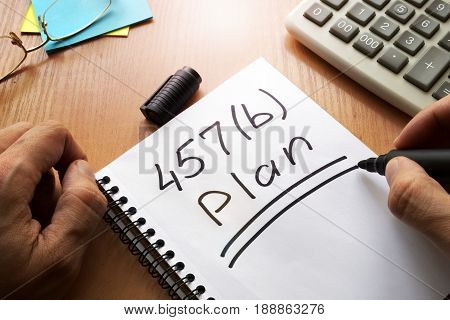 457(b) plan concept. Employer-sponsored retirement savings account.