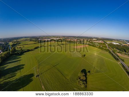 Aerial photo of the meadows and river Regnitz at Erlangen