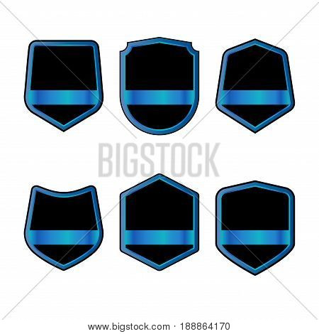 Set Of Black Shields With Blue Ribbons In Trendy Flat Style Isolated On White Background. Herald Log