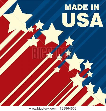 Made in USA icon concept badge design with blue and red American flag emblem elements.