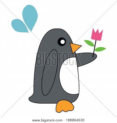 Penguin holding flowers.Penguin cute flowers with love.