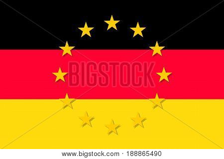 Germany national flag with a circle of European Union twelve gold stars, political and economic union, EU member since 1 January 1958. Vector flat style illustration