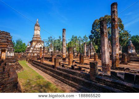Wat Chedi Jet Thaew in the precinct of Si Satchanalai Historical Park a UNESCO World Heritage Site in Thailand SUKHOTHAI THAILAND - JANUARY 17 2017: Wat Chedi Jet Thaew in the precinct of Si Satchanalai Historical Park a UNESCO World Heritage Site in Thai