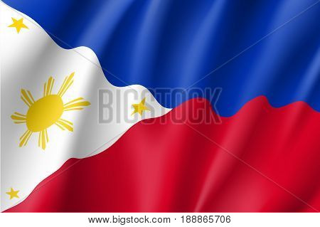 Waving flag of Republic of the Philippines. Patriotic philippine sign in official country colors and sun. Symbol of Southeast Asia state. Vector icon illustration