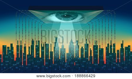 The digital city. Big brother electronic eye concept, technologies for the global surveillance, security of computer systems and networks