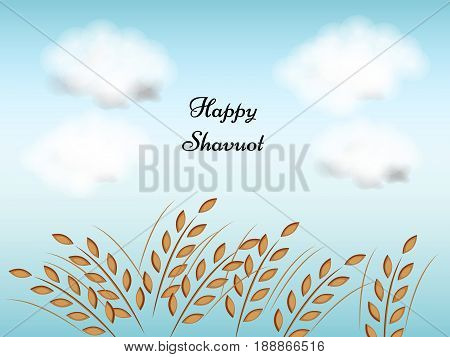 illustration of wheat with happy shavuot text