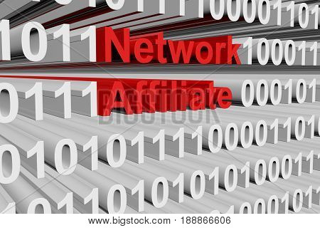 Network affiliate in a binary code 3D illustration