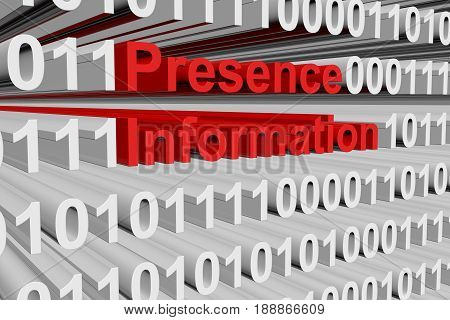 Presence information in the form of binary code, 3D illustration