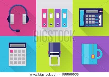 Office flat icons. Icons set for office or business: headset, calculator and stamp, folder, tea cup. Interface elements in flat design with long shadows. Vector illustration on white background.