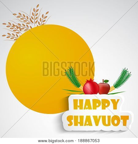 illustration of wheat pomegranate Apple with happy shavuot text