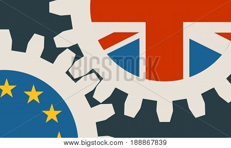 Image relative to politic situation between great britain and european union. Politic process named as brexit. Mechanism of Gears. Modern brochure design template
