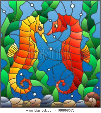 Illustration in stained glass style with a pair of fish seahorse on the background of water and algae